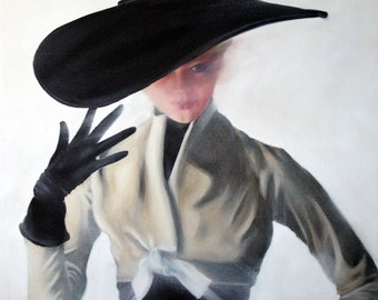 Original Oil Painting: Vintage Dior Fifties Fashion featuring Hat and Gloves