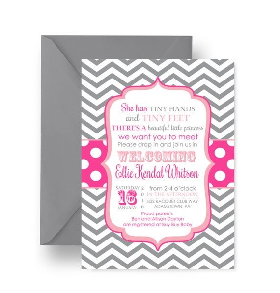 Pink Sip and See Baby Shower Invitations Grey Chevron with Polka Dots Meet Baby Invites Personalize Custom Printable or Printed (PINKSIP)