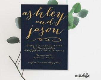Navy & Gold Wedding Invitation Set