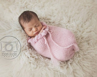 newborn knit pod, photo props with ruffles, pink  POD ONLY