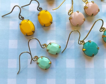 Vintage glass cabochon earrings opaque