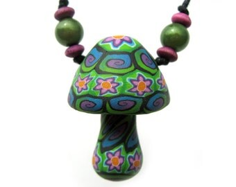 Millefiori mushroom pendant necklace with colorful flower and spiral patterns, flower power, colorful hippie necklace, one of a kind