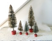 Vintage Bottle Brush Trees Large and Small Set of Five