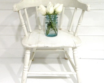 Vintage Childs Chair White Wood Shabby