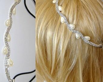 SALE 20%OFF Pearls Wedding Headpiece, Bridal Headchain, Crystal Headwrap, Silvertone, Swarovski Headband, Bandeaux Circlet Hair Jewelry Halo