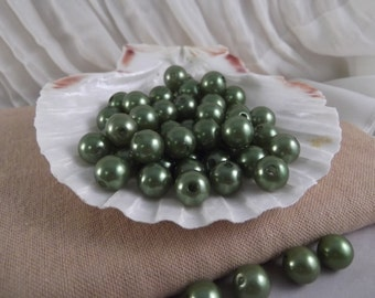 10mm Olivine Faux Loose Pearls ~ 50 pieces