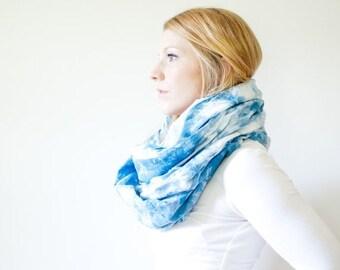 WINTER SALE hand-dyed cotton scarf - indigo