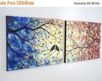 ART SALE Large Love Birds in Heart Tree Painting Lovebirds Romance Colorful Contemporary Over the Bed Canvas Art Diptych Silhouette 14x36 JM