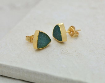 Teal Triangle Druzy Crystal Earring Posts with 24K Gold Dipped 10mm Triangle Earring Studs