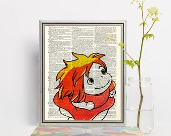 Ponyo Studio Ghibli Original Print on Unframed Upcycled Bookpage