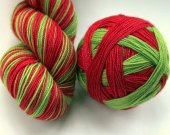"Self Striping Sock Yarn, Superwash Merino and Nylon Fingering Weight, in ""Elf"""