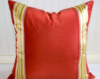 IN STOCK / Red and Gold Stripe Pillow Covers /  in Designer Fabric