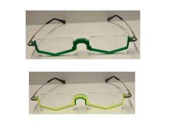 Green under frame anime cosplay costume glasses.