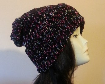 Chunky Loom Knitted Hat, Slouchy Loom Knit Hat, Loom Knit Hat, Winter Hat, Unisex Hat. FREE UK DELIVERY