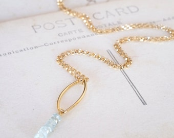 Aquamarine Goldfilled March Birthstone Necklace