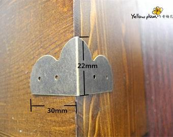 4PC/8PC/50PC 30*22mm antique color woodwork bracket,jewelry box, box corner decoration,chest box corner bracket E069