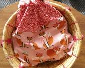 Drawstring bag, bag for gym clothes, sack for yoga clothes, beach bag, raspberry red, lady fox