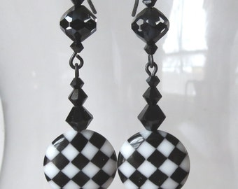 Black and White Checkerboard Earrings with Black Vintaj Arte Metal Earwires