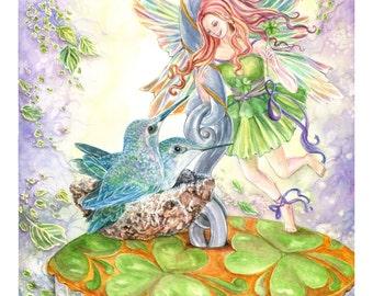 Fairy Art, Irish Fairy, Shamrock Fairy with Hummingbirds, St. Patrick's Day,Nest, Fairy Art print  ,11x 14 art  print