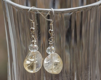 Citrine and Crystal Dangly Earrings 3688e
