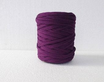 Cotton T-Shirt Tricot, T-Shirt yarn, dark purple  t shirt yarn, for bags, for jewellery, zpagetti yarn, recycled fabric yarn