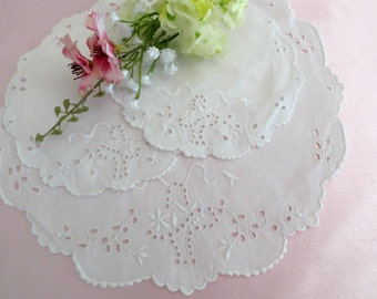 White Cotton Doilies Broderie Anglaise Embroidery, Set of 3 Small Round Doilies, White Embroidery, Vintage Linens by TheSweetBasilShoppe
