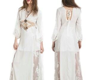 Boho Lace dress boho dress lace dress Sheer chiffon dress Crochet cut out open back festival gypsy wedding bridesmaid plunging V neckline