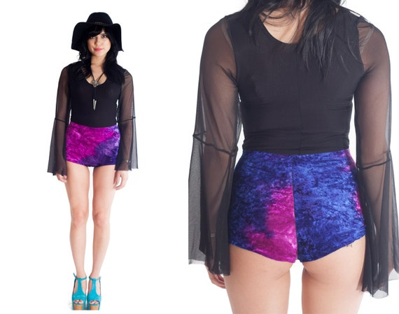 VIXEN Cosmic Velvet High Waist Cheeky Booty Shorts // XS S M L XL