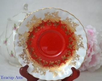 Royal Albert Red Regal Series Replacement Saucer Only, English Bone China Saucer,  ca. 1970