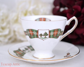 Elizabethan PEI Plaid Teacup and Saucer, English Bone China Tea Cup Set,  Prince Edward Island Tartan Teacup,  ca 1961-
