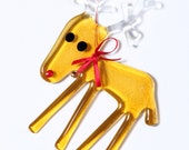 Rudolph the Red Nosed Reindeer - Christmas Holidays Decoration in Fused Glass - Unique seasonal gift for grandparents