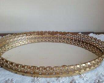 Vintage Mirrored Dresser Tray Ornate Gold Vanity Tray Mid Century Bedroom Decor