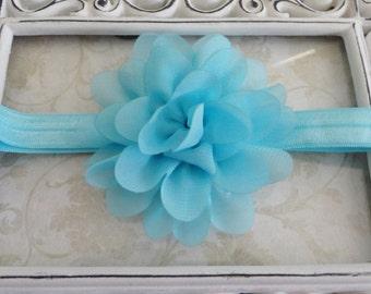 Baby Headband,Aqua Blue Chiffon Flower Headband, Infant Headband, Newborn Headband, Girls Headband, Bow Headband