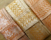 Orange Salmon Yellow Vintage Sari borders, Sari Trim SR258