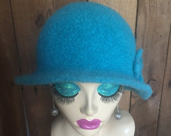 Aqua Crocheted Felted Cloche Flapper Hat 'Molly'