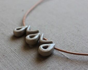 Handmade ceramic grey rain drops short necklace