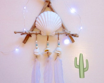 driftwood dream catcher , white bohemian beach decor , coastal decor , beachcomber bohemian decor