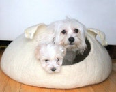 SALE Ready to ship - pet bed - small dog bed - natural white dog bed size XL and size M