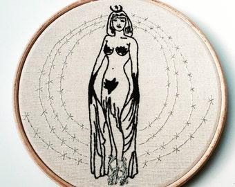 PDF Embroidery PATTERN Yasmina Byzantine Empress , Bizarre PIN-Up,  Digital Downloadable