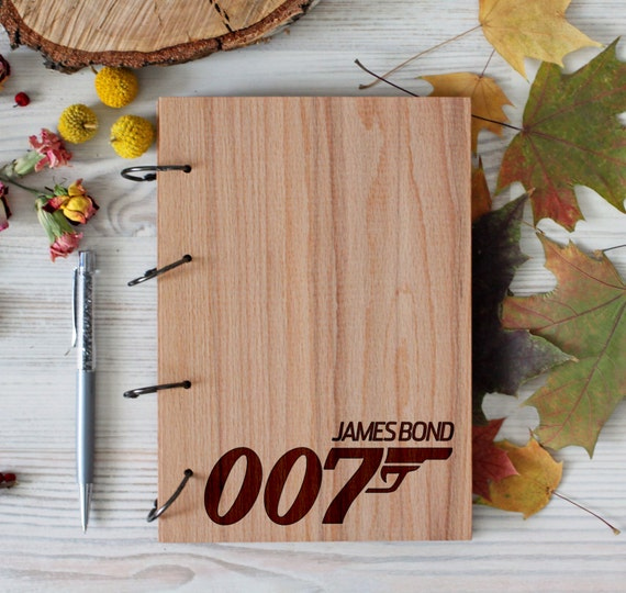 007 Wooden notebook - James Bond notebook - Custom Notebook - Personalized Engraved