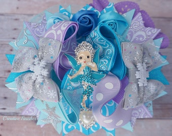 Fairy Bow, Periwinkle Hair Bow, Aqua Lavender Outfit Accessories, Tinker Bell Bows