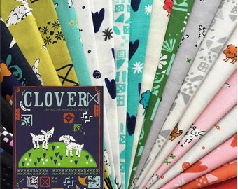 Clover - Fat Quarter Bundle of 16 Cotton prints - Alexia Abegg for Cotton + Steel - CLOVER-FQ