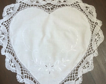 Five Vintage heart shaped embroidered doilies...(5)