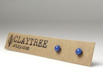 PEACOCK Blue Stud Earrings - Tiny Royal Blue Studs - Simple Hypoallergenic Post Earrings - Surgical Steel - Resin - 3mm Circle Studs