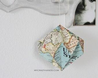 texture US map globe || 6 1/2'' paper diamond || origami ball | map origami haning decor