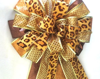 Christmas Bow, Leopard Bow, Gold Bow, Tree Topper Bow