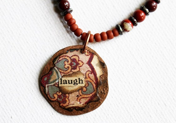 Laugh Mixed Media Pendant Necklace Mixed Media Jewelry Inspirational Gemstone Bead Necklace Seed Bead Boho Pendant Hippie Necklace Recycled