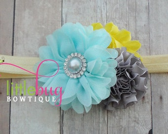 Silver Grey Gray Baby Aqua Blue Yellow School Summer Satin Headband for Newborns, Toddlers, Girls, Teens