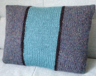 Pillow, Cushion, Teal Pillow, Tweed Cushion, UK Seller, Hand Knitted