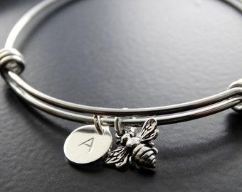 Bangle Bracelet Bumble bee Silver bracelet Honey bee charm bracelet Personalized Jewelry Initial bracelet